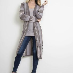 Simply Noelle Duster Cardigan Blue Striped